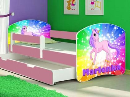 Patut Tineret MyKids Rainbow Unicorn cu Sertar si Saltea 140x70