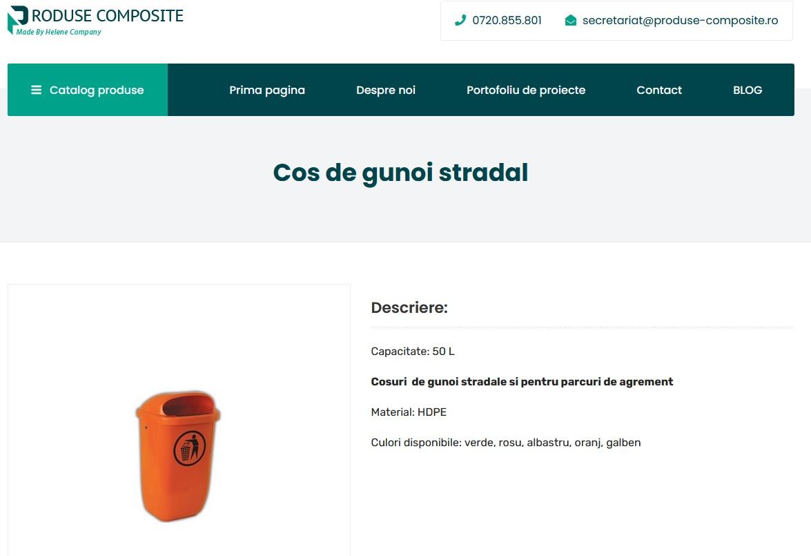 Compania Helene comercializeaza cosuri de gunoi stradale din materiale composite in Romania