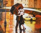 Pictura Sub umbrela in ulei pe panza