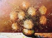 Pictura flori in ulei pe panza