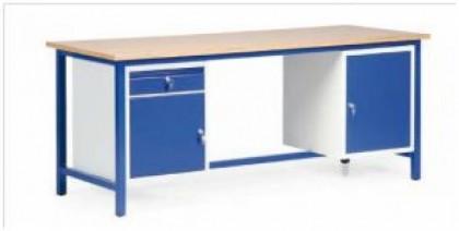 Banc de lucru SINGLE - Model cu doua dulapuri si un sertar